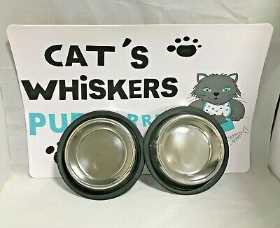 Cat Kitten Stainless steel bowl Food Feeding Tray With Cat Feeding Mat