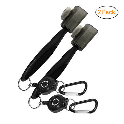 2-Pack Golf Brush Club Groove Cleaner Zip-line Easily Attaches to Golf Bag