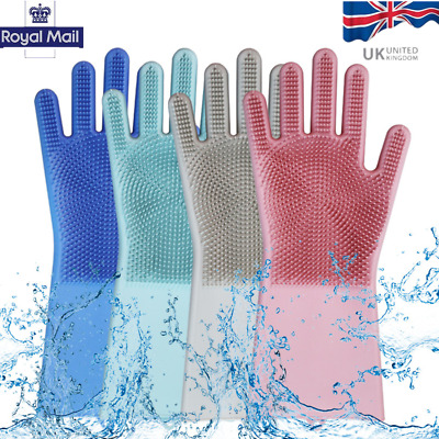 One Pair 2 in 1 Silicon Dish Scrubber Glove 100% Food Grade Cleaning Dishwashing