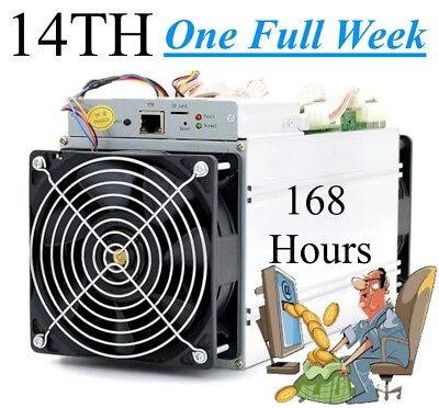 168 Hours 1 Full Week Bitcoin Mining Contract 14TH/s SHA256 S9i Antminer