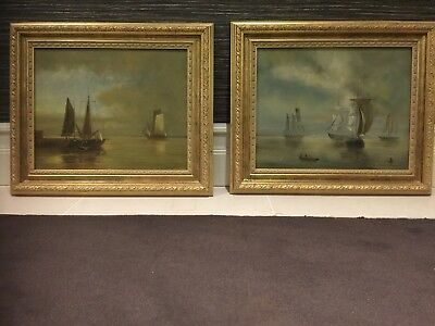 Antique pair of original oil paintings framed