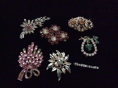 Job Lot Of Damaged Vintage Brooches Inc. A Marked Czechoslovakia Brooch