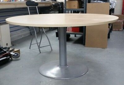 large, round, wood-effect office Dining table