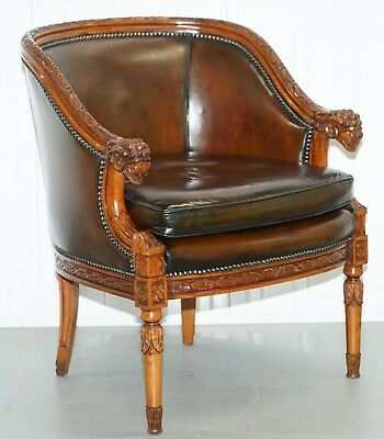 Restored Vintage Hand Dyed Age Brown Leather Rams Head Tub Club Armchair Rare