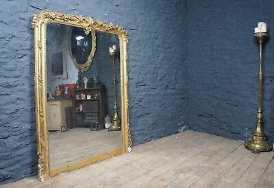 Huge Antique Victorian Over Mantle Mirror ~ Large Gilt Frame & Foxed Plate