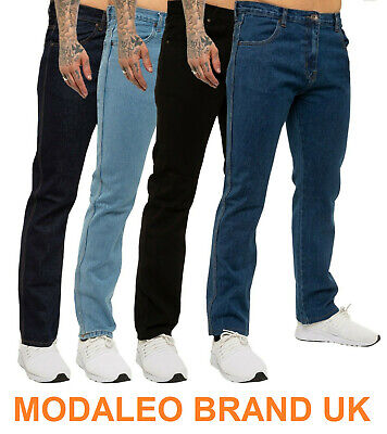 Modaleo Mens Designer Jeans Regular Fit Denim Pants Big Tall All Waist Sizes