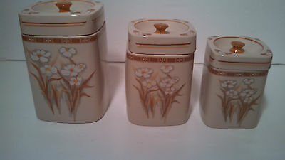 Vintage Daeware Piece Ceramic Canister Set With Floral Design