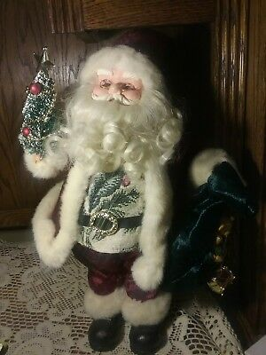 Standing Santa Claus Figurine 17 inch  Holding BAG OF TOYS TREE DETAILED