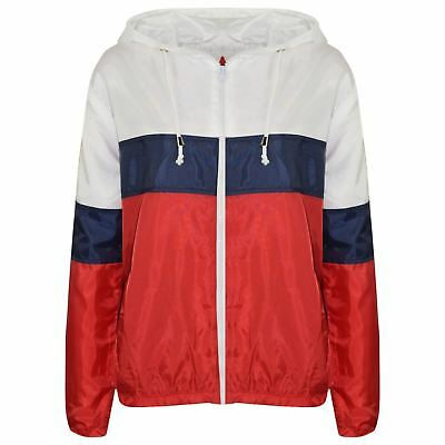 Kids Girls Boys Windbreaker Red Contrast Block Jackets Hooded Cagoules Raincoats