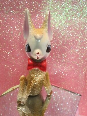 Vtg Anthropomorphic Christmas Fawn Deer W Sugared Textured Fur RED BOW TIE