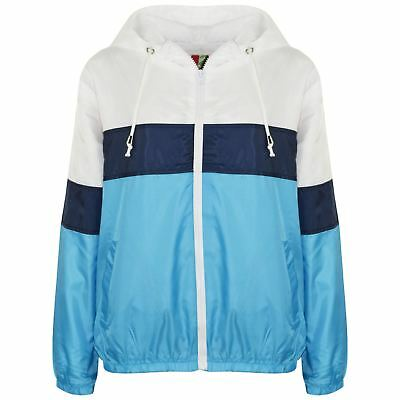 Kids Girls Windbreaker Turquoise Contrast Block Jackets Hooded Cagoule Raincoats