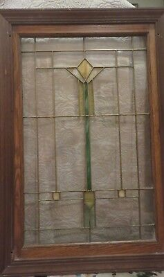ANTIQUE LEADED STAINED GLASS WINDOW Beveled Glass Large