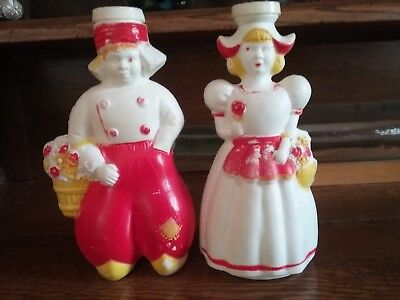 Vintage Plastic Laundry Sprinkler Bottle Matched Pair Rare Dutch Boy & Girl