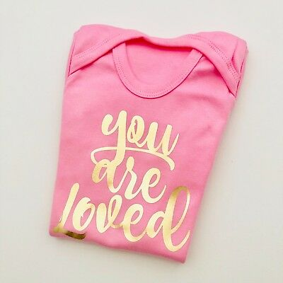 Baby girl clothing 'YOU ARE LOVED' bodysuit babygrow pink & gold FANTASTIC GIFT