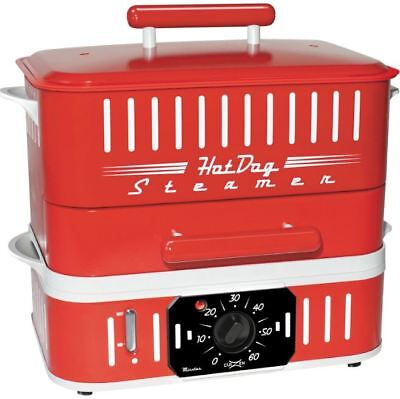 Hot Dog Electric Red Steamer Machine Bun Cooker Warmer Timer Food Roller Grill