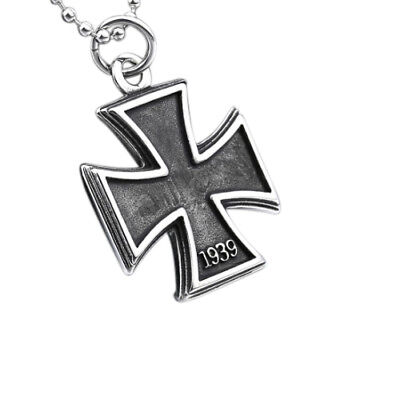 Iron Cross Pendant Silver 1813-1939 War Necklace Vintage Look Stainless Steel