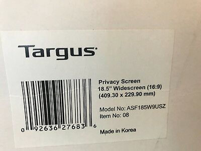 "Targus 18.5"" LCD Monitor Privacy Screen (16:9) 410mm x 231mm ASF185W9USZ cps18"