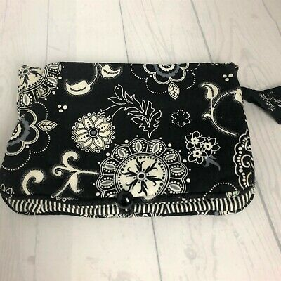 "Thirty-One 31 Black White Floral Jewelry Make Up Travel Fold Bag  11.5"" x 8.5"""