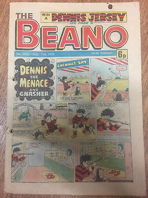 Beano Comic No 1934 August 11th 1979, Vintage Dennis the Menace, FREE UK POSTAGE