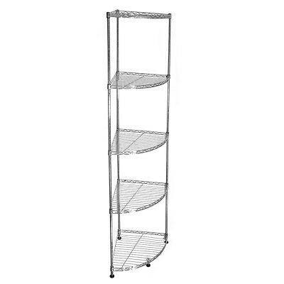 153x35x35cm Real Chrome Corner Wire Rack Metal Steel Kitchen Shelving Racks UKDC