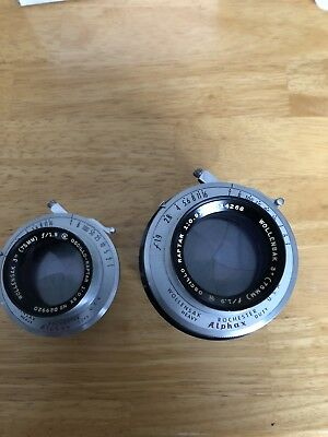 "2 Vintage Wollensak 3""(75mm) Camera Lens"