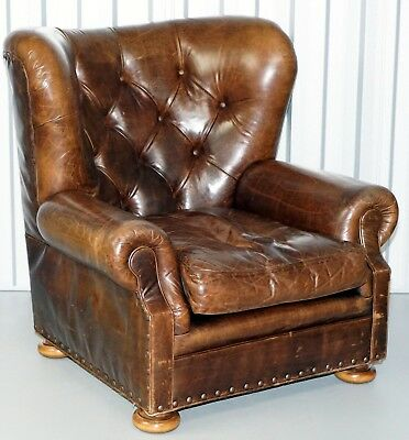 Vintage Heritage Brown Leather Writer's Club Chair Armchair In Good Condition
