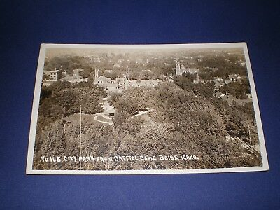 Old RPPC View City Park From Capitol Dome Boise Idaho Postcard