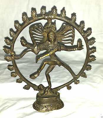 "8"" Tall Attractive Brass statue of Lord Shiva Dancing Nataraja circle of Fire"
