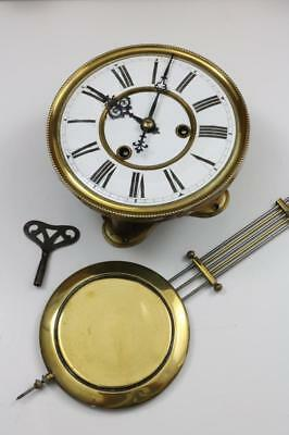 VIENNA REGULATOR CLOCK MOVEMENT key & pendulum 2 PART PORCELAIN DIAL