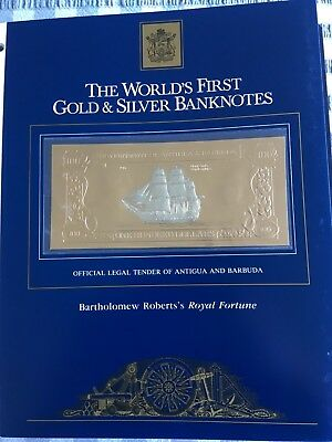 23k Gold & Silver UNC $100 Antigua Banknote - Bartholomew Robert's Royal Fortune