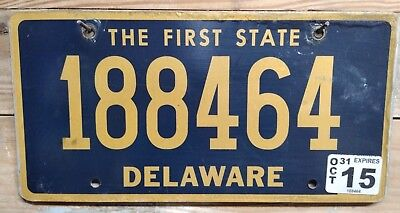 """2015 Delaware """"The First State"""" License Plate/Tag - 188464 ~ Flat"""