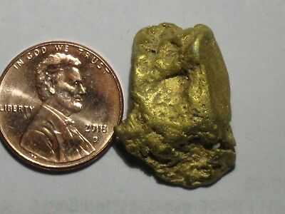 Gold Nugget Alaska Placer Gold 12.4 Gram Chunk In It's Natural Form