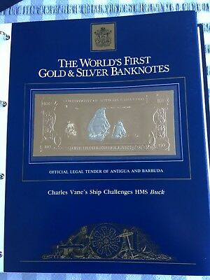 23k Gold & Silver $100 Antigua Banknote  Charles Vane's Ship Challenges HMS Buck