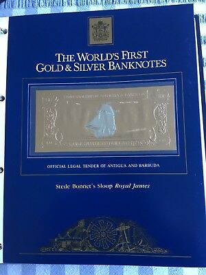 23k Gold & Silver UNC $100 Antigua Banknote - Stede Bonnet's Sloop Royal James