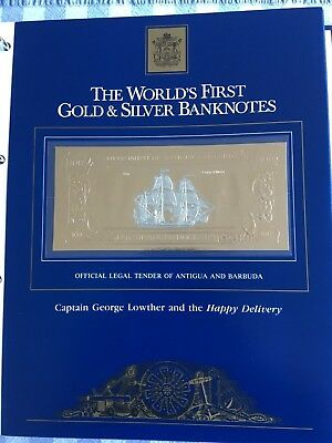 23k Gold & Silver UNC $100 Antigua Banknote - Cpt George Lowther Happy Delivery