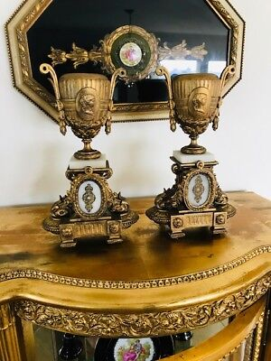 Antique 19th C French Empire Gilt Tin or Bronze Marble Mounted Cassolettes