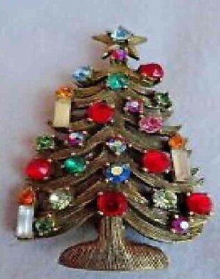 Vintage Weiss Rhinestone Christmas Tree Pin 3 Candles----Excellent Condition