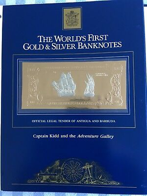23k Gold & Silver UNC $100 Antigua Banknote Captain Kidd & the Adventure Galley