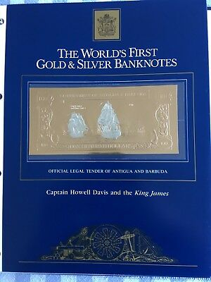 23k Gold & Silver UNC $100 Antigua Banknote Captain Howell Davis King James