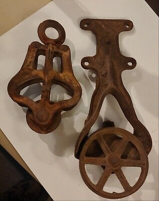 Pair Of Large Antique Pulleys