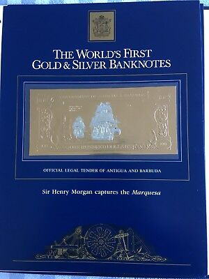 23k Gold & Silver UNC $100 Antigua Banknote Sir Henry Morgan captures Marquesa