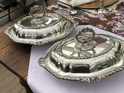 Antique Pair of Silver-plated Covered Oval Serving Dishes