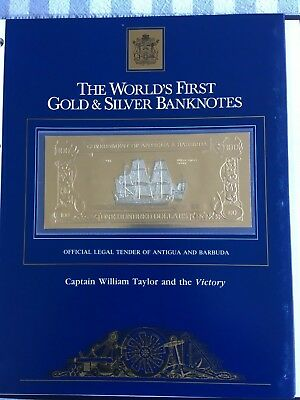 23k Gold & Silver UNC $100 Antigua Banknote Captain William Taylor & the Victory