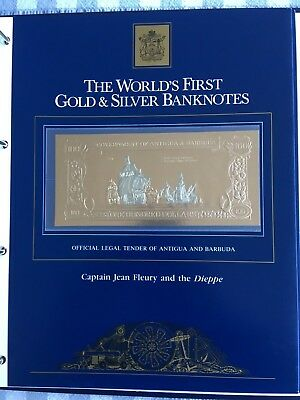 23k Gold & Silver UNC $100 Antigua Banknote Captain Jean Fleury and the Dieppe