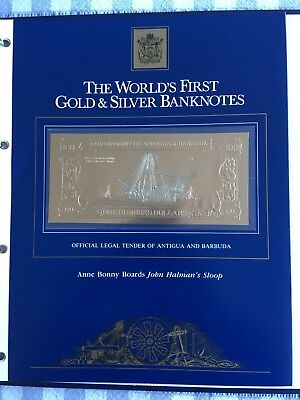 23k Gold & Silver UNC $100 Antigua Banknote Anne Bonney Boards John Halman's