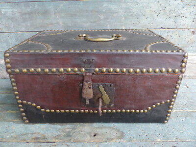 antique primitive document box leather brass studs with key early 19th century
