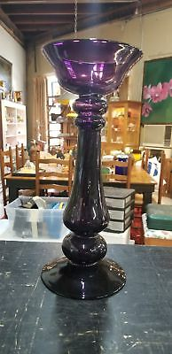 Vintage Purple Amethyst Glass Vase Or Candle Holder