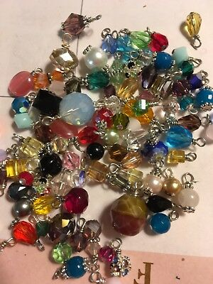Jewelry Making Lot Of 20 Small Bead Drop Dangle Grab Bag Crystal, Gemstone Glass