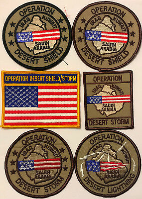 Operation Desert Storm Shield Lighting Patch Lot - 6 PATCHES