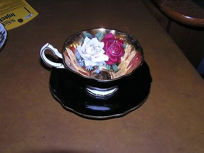 Queen Anne Roses Gold Black Cup & Saucer Bone China England AS-IS